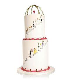 Cute Hand Painted Wedding Cake #wedding #cake #2014