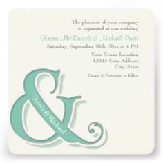 Simple, clean, bold graphic modern lines with a hint of vintage typography for an informal style couple. This set was graphically designed by custom wedding designer Audrey Jeanne Roberts. The bride and groom's names are in the ampersand and their more modern format and wording text is offset at the top right hand of the invitation.  #Ampersand #Modern #Typography Style #Weddings #Invitations