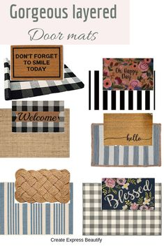 Gorgeous budget-friendly doormats and outdoor carpets to create perfectly layere. Gorgeous budget-friendly doormats and outdoor carpets to create perfectly layered doormats. Front Door Rugs, Front Door Decor, Fromt Porch Decor, Front Porch Decorations, Fromt Porch Ideas, Small Front Porches, Decks And Porches, Farmhouse Front Porches, Porch Mat
