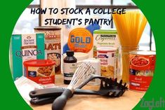 How To Stock A College Student's Pant. - How To Stock A College Student's Pantry College Food Hacks, College Cooking, College Meals, College Life, Healthy Crockpot Recipes, Healthy Meals For Kids, Easy Meals, Microwave Recipes, Easy Recipes