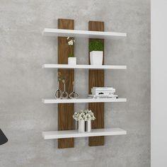 Unique Wall Shelves, Home Decor Shelves, Wall Shelf Decor, Home Decor Furniture, Furniture Projects, Diy Home Decor, Furniture Design, Room Decor, Bookshelf Design
