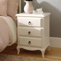 Florence Ivory 3 Drawer Bedside Table   Dunelm