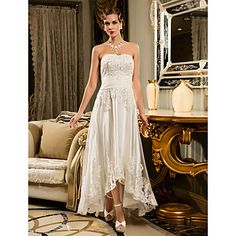 Wedding Dress Sheath Column Asymmetrical Tulle Strapless Scalloped Edge With Beading Appliques  – USD $ 89.99