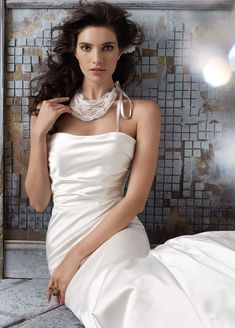 Bridal Gowns, Wedding Dresses by Jim Hjelm - Style jh8114.......Ivory Silk Faced Satin modified A-line bridal gown, strapless soft draped bodice, chapel train.