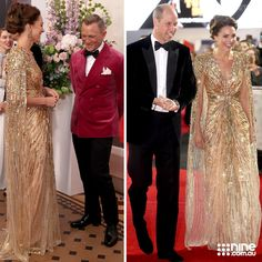 Duchess Kate, Duke And Duchess, Duchess Of Cambridge, Gold Gown, Daniel Craig, Princess Charlotte, Bridesmaid Dresses, Wedding Dresses, Beautiful Children