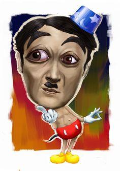 charlie chaplin caricatures | charlie chaplin x mickey mouse cross over by shermene