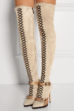 Taupe suede high heel thigh boots with front lacing, ankle straps