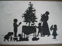 AK Scherenschnitt = Weihnachten, Familie