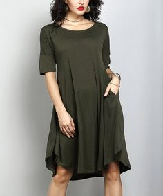 7f7b08203eb Reborn Collection Olive Three-Quarter Sleeve Side-Pocket Dress - Plus