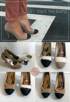 My DIY Projects: Diy Black Toe Pump - spice up those old pumps . how about a black w/white toes? Do It Yourself Mode, Do It Yourself Fashion, Diy Sac, Diy Vetement, Diy Mode, Black Toe, Black Heels, Diy Accessories, Diy Clothing