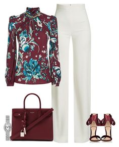 A fashion look from August 2017 featuring floral-print blouses, white wide leg trousers and ankle tie sandals. Browse and shop related looks. Business Casual Outfits, Business Fashion, Classic Outfits, Cool Outfits, Burgundy Fashion, Trouser Outfits, Winter Outfits For Work, Curvy Girl Fashion, Fall Fashion Outfits