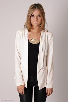 Cream blazer + black top + black skinnies + gold necklace