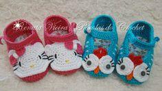 * Pérolas do Crochet: Sapatinhos em croche para bebe - Hello Kitty e Galinha pintadinha ♡
