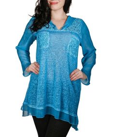 Another great find on #zulily! Indigo Lace-Panel Hooded Tunic - Plus #zulilyfinds