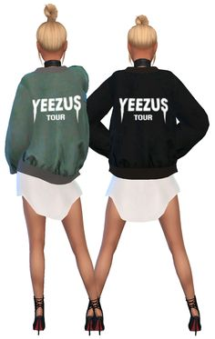 "simsrunway: "" New Recolour Bomber Jacket inspired by the Yeezus Tour Bomber Jacker. You need to download the mesh by @sims4-marigold, which can be downloaded here. Download the recolour here! Please..."