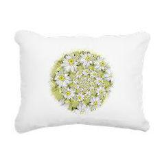 Fractal White daisy Spiral2 Rectangular Canvas Pil> White Designs> Rosemariesw Digital Designs
