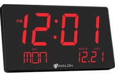 Buy Bluetech Oversized LED Digital Clock- Extra Large Display, Easy To Read 3 Inch Digits, Sleek Design - Wall-Shelf Clock For Home Or Office Use Atomic Wall Clock, Led Wall Clock, Desk Clock, Wall Clocks, Alarm Clocks, Living Room Gadgets, Home Gadgets, Digital Clocks, Digital Wall