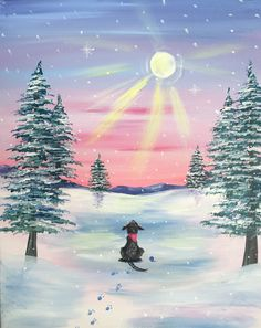 Paint Nite. Drink. Paint. Party! We host painting events at local bars. Come join us for a Paint Nite Party! Winter Painting, Winter Art, Christmas Paintings, Christmas Art, Painting Lessons, Painting & Drawing, Pictures To Paint, Painting Inspiration, Landscape Paintings