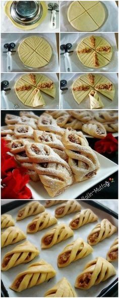 Another cute way to wrap pie crust Pastry Recipes, Baking Recipes, Cookie Recipes, Dessert Recipes, Delicious Desserts, Yummy Food, Pastry Design, Bread Shaping, Bread And Pastries