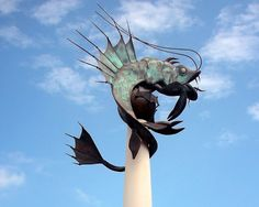 "Its official name is ""The Plymouth Sea Monster"", but it is now only referred to by its nickname, ""The Barbican Prawn"". Erected in City By The Sea, Barbican, Sea Monsters, Prawn, Plymouth, Statue Of Liberty, Statue Of Liberty Facts, Statue Of Libery"