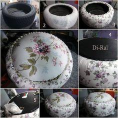 Luxo de Lixo Arte e Criação: Puff de pneu floral... continuação...