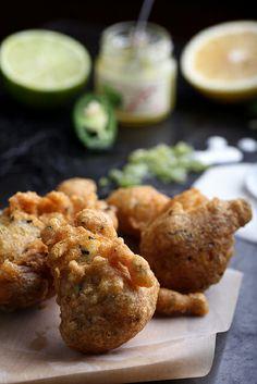 hijiki-jalapeño beignets w/ shikuwasa jam & lime aïoli