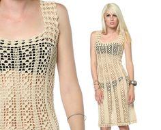 Crochetemoda: Vestido de Crochet Creme