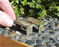 Tiny Mossy Stone Benches for Miniature Fairy Garden Terrarium or Fairy Garden Set of Two