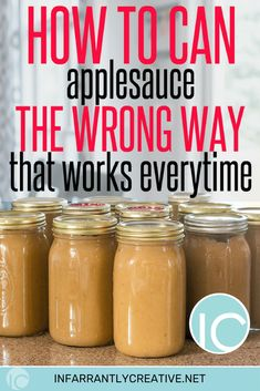 How to make applesauce the wrong way that works every time. The easiest applesauce recupe you will every make! Applesauce Recipes Canning, Canned Applesauce, How To Make Applesauce, Canning Recipes, Canning 101, Apple Recipes, Fall Recipes, Apple Desserts, Healthy Recipes