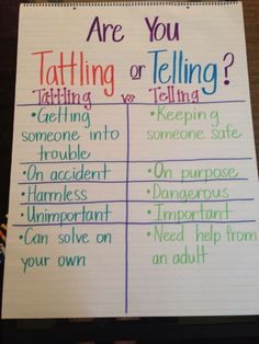 Awesome for teaching life skills, good for any age! I rarely had issues with tattling once I 'modeled' and 'guided' the students. Parenting Advice, Kids And Parenting, Parenting Classes, Teaching Kids, Kids Learning, Teaching Manners, Student Teaching, Classroom Management, Classroom Organization