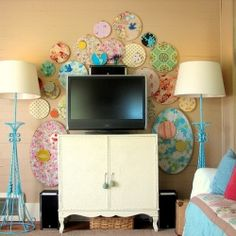 I think I pinned this before.  I like the fabric collection and the hutch.  Not too keen on the turquoise lamps.