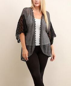 Another great find on #zulily! Black Lace-Accent Sheer Open Cardigan - Plus…