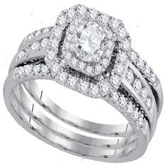 White Gold Halo Shape Style With Round Center Stone 0.33ct And Round Diamonds Bridal Ring Set (1.01ct. tw) - 40492838