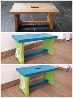 Hier habe ich einem alten Holzhocker/ Holzschemel neue Farbe verpasst Stool, Furniture, Home Decor, Repurpose, Colour, Decoration Home, Room Decor, Home Furnishings, Home Interior Design