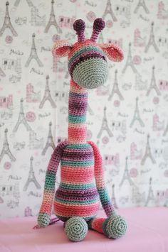 Handmade Crochet Dolls by LinaMarieDolls on Etsy ---------------  Crochet giraffe, handmade toy, soft toy, plush toy, rainbow, teal, purple, pink, gray, amigurumi, baby girl gift idea