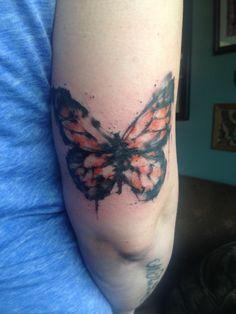 Watercolor Butterfly Tattoo By Jeny Kennedy At Patina Tattoo Parlor Fairbanks, Alaska May 4th, 2014