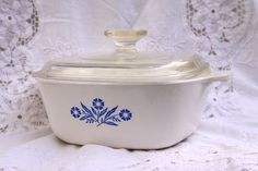 For sale is a vintage Blue Cornflower Corningware Casserole, 1 1/2 Quart. A great durable piece just like mom used to have. This 1 1/2 quart casserole is shiny, bright, and ready to use.  This is one of the most frequently used sizes of Corning Ware casseroles. P-1 ½ -B holds 1 ½ quarts or 1.5 Liters. Corning Ware is great to bake in (microwave or oven), great to serve in and great for storage. This dish has been kept in beautiful shape; no chips or cracks. There are some slight surface…