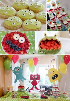 Some cute ideas on this site!!  Pettingill Crew: {Rylan's 5th Birthday: Monster Party}