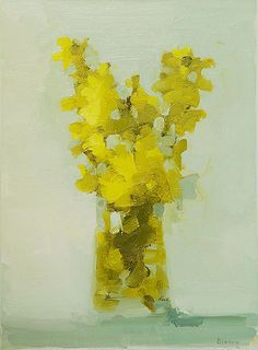 "Stanley Bielen, Forsythia Harbinger, 2010, oil on panel, 15 x 11"" at William Baczek Fine Arts www.wbfinearts.com"
