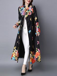 2a9f0f60d5e Vintage Printed Stand Collar Jacquard Long Coat. Plus Size OuterwearChic  OutfitsCoat ...