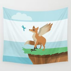 Enfield Wall Tapestry - Enfield, fox, eagle, wings, hummingbird, bird, cryptid, mythical creature, urban legend, Lovable Legends, whimsical, cute, vector, art, design, illustration, cartoon, drawing