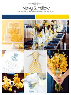 "Blue & Yellow Wedding Inspiration from Facebook I really like the cake, and the way the colors are described as ""the sun meets the sea."" #dawninvitescontest"