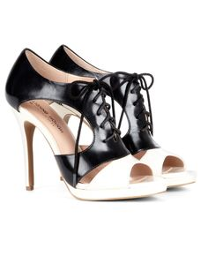Colorblock Lace Up Heels
