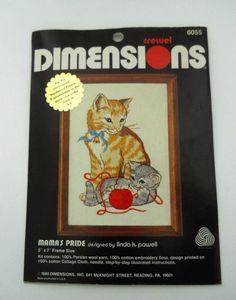 1980 Dimensions Crewel Mama's Pride Cats Persian Wool Yarn Cotton Floss