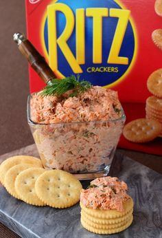 This Easy Salmon Spread Makes The Best Quick Appetizer! Fresh Salmon Cracker Spread loaded on RITZ crackers is the perfect appetizer for Game Day! Fresh salmon, dill, cream cheese and mayonnaise…it's so good! Crackers Appetizers, Quick Appetizers, Ritz Crackers, Appetizer Recipes, Canned Salmon Recipes, Salmon Salad Recipes, Fish Recipes, Seafood Recipes, Canned Salmon Salad