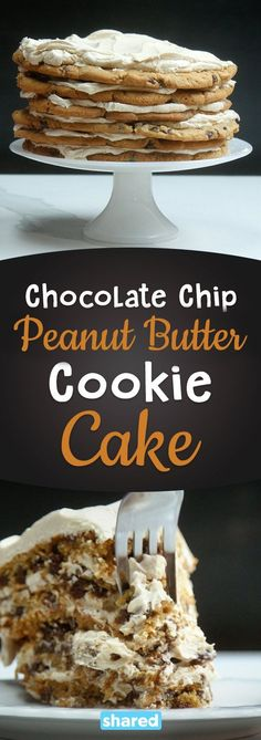 """If you're a peanut butter lover, this is the ultimate treat for you! This Chocolate Chip Peanut Butter Cookie Cake is extravagant, and so easy to make! All you need to put this together is some premade chocolate chip cookie dough, and to whip up some yummy peanut butter buttercream frosting! The baked cookie dough creates the layers of your """"cake"""" for a confection you've definitely never tried before! Bake this up and you'll want to make it again and again, maybe with different fillings in…"""