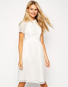 ASOS Midi Dress in Cut Out and Embroidery with Mesh Back
