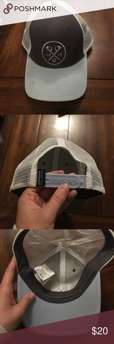 Patagonia hat Probably worn 3-4 times. Light mark on brim. I haven't tried to get it out, but it's likely just dirt. It's one size, but probably closer to men's sizing. I have a small head and it's just a little too big for me. Super cute though! Patagonia Accessories Hats