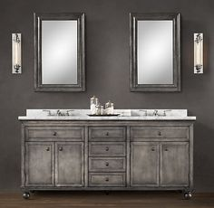 Zinc Double Vanity Sink | Restoration Hardware | Ridiculously Expensive,  But Would Be Awesome In
