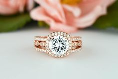 Hey, I found this really awesome Etsy listing at https://www.etsy.com/listing/258043211/rose-225-ctw-halo-wedding-set-art-deco
